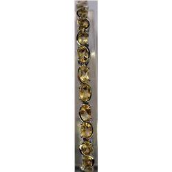 One of a kind Sterling Silver Lab Golden Citrine Bracelet. (22B)