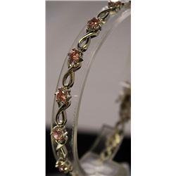 Very Fancy Sterling Silver Lab Pink Sapphire Bracelet. (38B)