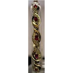 Beautiful Sterling Silver Lab Rubies & White Sapphire Bracelet. (42B)