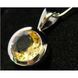 Fancy Sterling Silver Lab Golden Sapphire Pendant. (43B)
