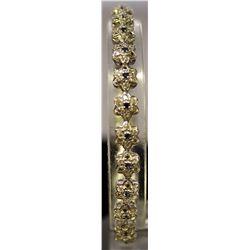 Very Stylish Sterling Silver Lab White Topaz & Sapphire Bracelet. (46B)