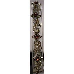 Fancy Sterling Silver Lab Garnet & White Sapphire Bracelet. (56B)