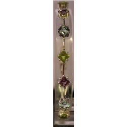 Fancy Sterling Silver Lab Multi Gem Stones Bracelet. (81B)