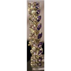 Fancy Sterling Silver Lab Amethyst & Tanzanite Bracelet. (83B)