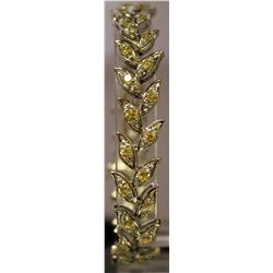 Stylish Sterling Silver Lab Golden Sapphires & White Sapphires Bracelet. (88B)