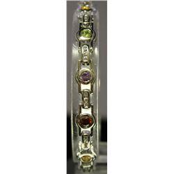 Very Fancy Sterling Silver Lab Multi Gem Stones Bracelet. (111B)