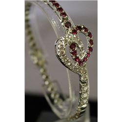 Fancy Sterling Silver Lab White Topaz & Rubies Bracelet. (115B)