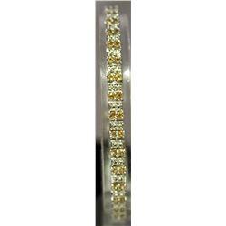 Fancy Sterling Silver Lab Golden & White Sapphire Bracelet. (122B)