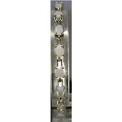 Unique Fashionable Style Sterling Silver Lab Milk Opal Bracelet. (123B)