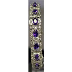 Beautiful Sterling Silver Lab Tanzanite & White Topaz Bracelet. (126B)