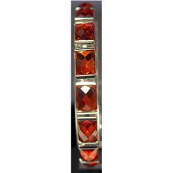 Fancy Sterling Silver Lab Orange Tourmaline Bracelet. (127B)