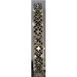 Very Fancy Sterling Silver Lab Ruby Bracelet. (129B)