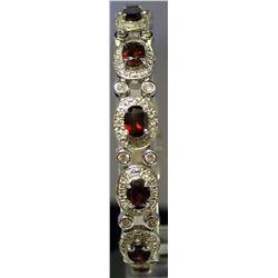 Very Fancy Sterling Silver Lab White Sapphire & Ruby Bracelet. (131B)