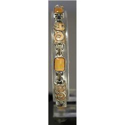 Unique Style Sterling Silver Lab Agates Bracelet. (138B)