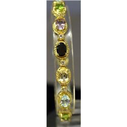 Beautiful Yellow Gold over Sterling Silver Multi Lab Gems Bracelet. (146B)