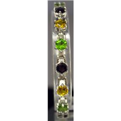 Beautiful Sterling Silver Multi Lab Gems Bracelet. (147B)