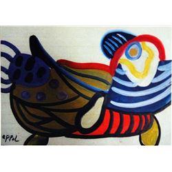 Karel Appel Oil on Paper - Bird