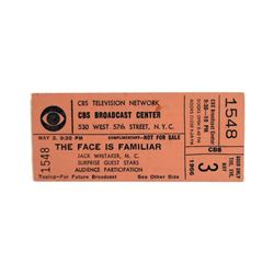 """CBS Game Show Ticket  """"The Face is Familiar"""" 1966"""