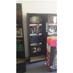 Display shelving with LED lit signs as pictured
