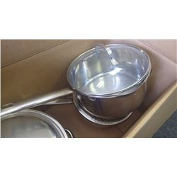 3 new stainless steel pots with glass lids