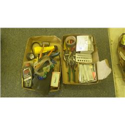 2 trays of tools (tin snips, welder chalk and miscellaneous)