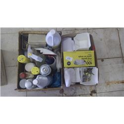 2 trays cleaning products and assorted miscellaneous