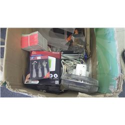 Large box of assorted items (Honeywell thermostat, office supplies, fan, miscellaneous items