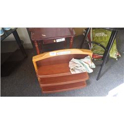 Suitcase; telephone table; display case; bar stool