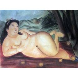 Signed Mixed Media Botero