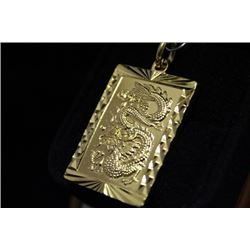 Dazzling 14kt Gold over Silver Dragon Pendant (14M)
