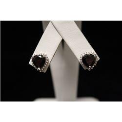 Stunning Garnet Silver Earrings (22M)