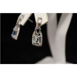 Beautiful Aquamarine & Diamond Earrings (25M)