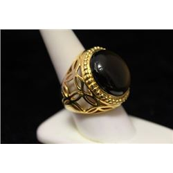 Fine 14kt Gold over Silver Tiger Eye Ring (48M)