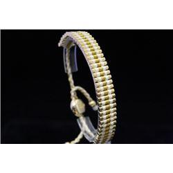 Fancy 14kt Gold Over Silver Links London White & Gold Bracelet (62M)