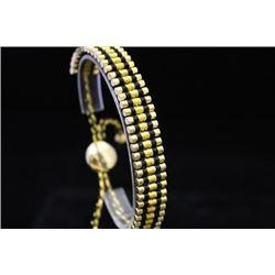 Elegant 14kt Gold over Silver Links London Black & Gold Bracelet (74M)