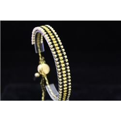Dazzling 14kt Gold over Silver Links London Black & Gold Bracelet (95M)