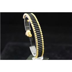 Gorgeous 14kt Gold over Silver Black Bracelet (100M)