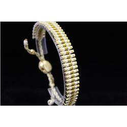 Beautiful 14kt Gold Over Silver Links London White & Gold Bracelet (106M)