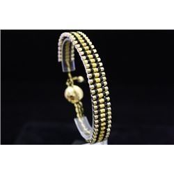 Fancy 14kt Gold over Silver Links London Black & Gold Bracelet (107M)