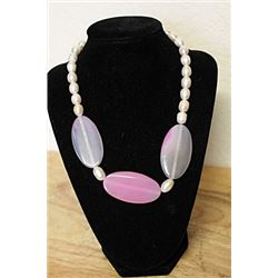 Pink Tourmaline and White Baroque Pearls  Necklace