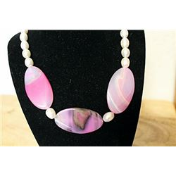 Pink Tourmaline/ White Baroque Pearl Necklace