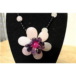 Black Pearl Amethyst Pink Tourmailne Necklace