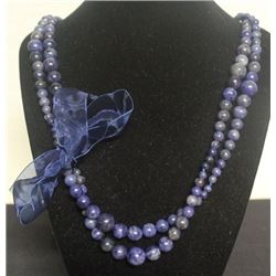Beautiful Blue Agate with Bow Necklace (40ZF)