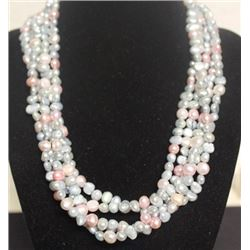 Beautiful 5 String Pink & Blue Pearl Necklace (47ZF)