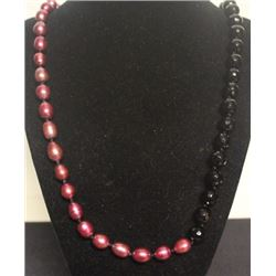 Gorgeous Pink Pearl & Hematite Necklace (52ZF)