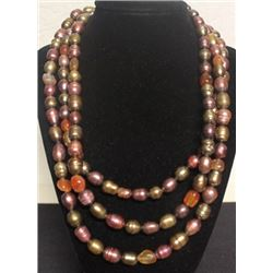 Fancy Fire Agate & Pearl Necklace (57ZF)