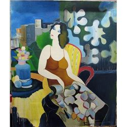 Itzchak Tarkay - Seated Woman Oil on Canvas