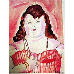 Fernando Botero - Claudia 1991 Watercolor
