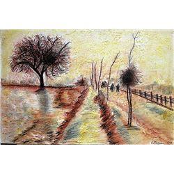 Camille Pissarro - The Herritage at Pontoise 1901 Pastel