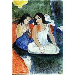 Paul Gaugin - Two Womans of Tahiti Pastel